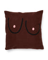 This 100% cotton jacquard pillow cover comes in deep brown with black art.