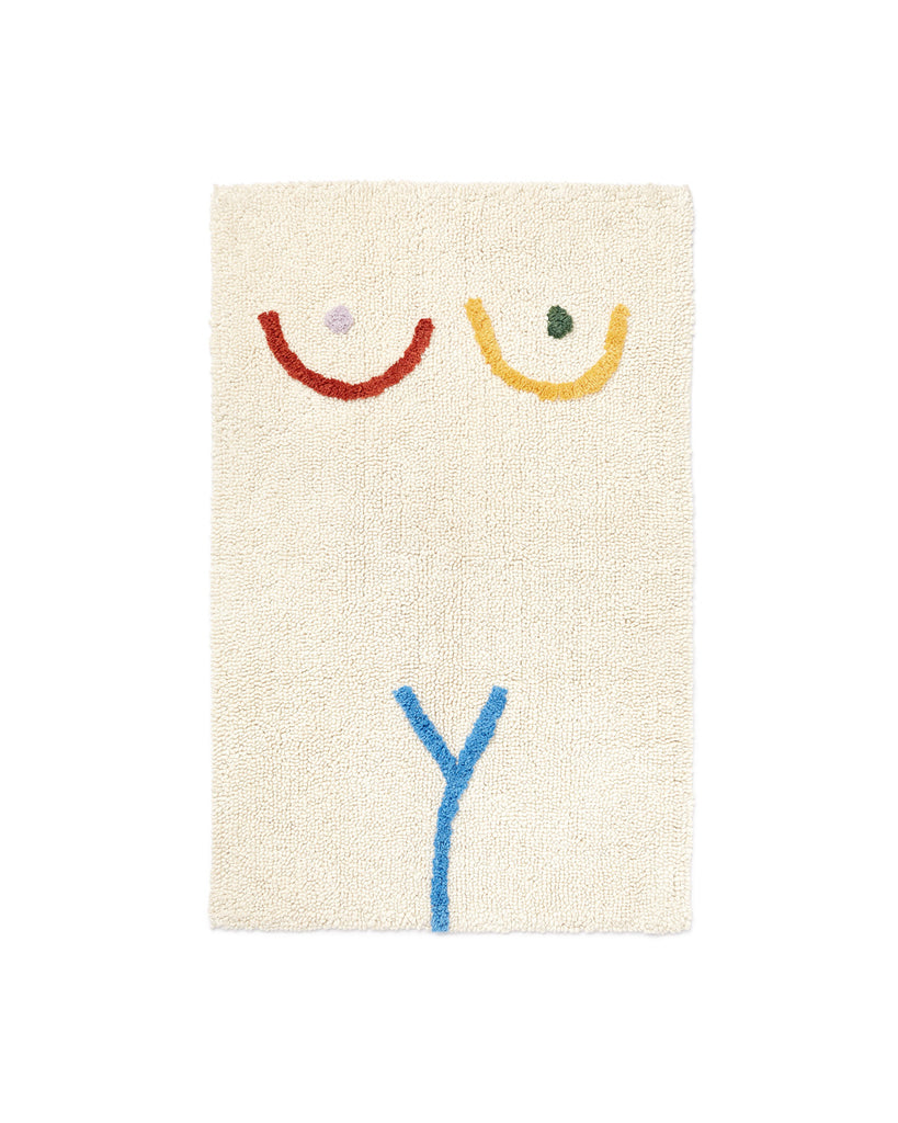 This bath mat comes in white, with colorful abstract art on the front.