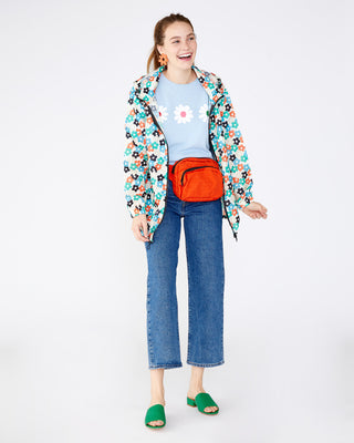 Bright floral pattern raincoat