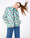 Bright floral pattern raincoat with full length zipper