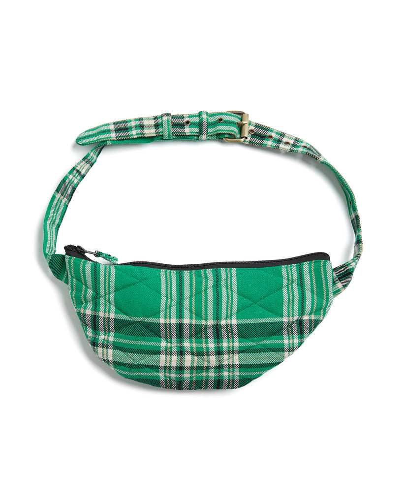 Green plaid crossbody with zipper closure.
