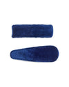 Set of 2 navy velvet snap closure hair clips.