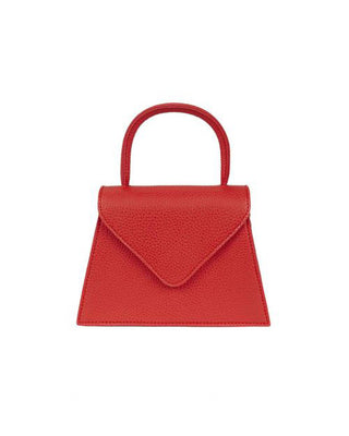 Red leather textured purse with front flap and top handle