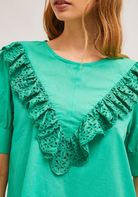 detail shot of model wearing green ruffle-front blouse with eyelet detail