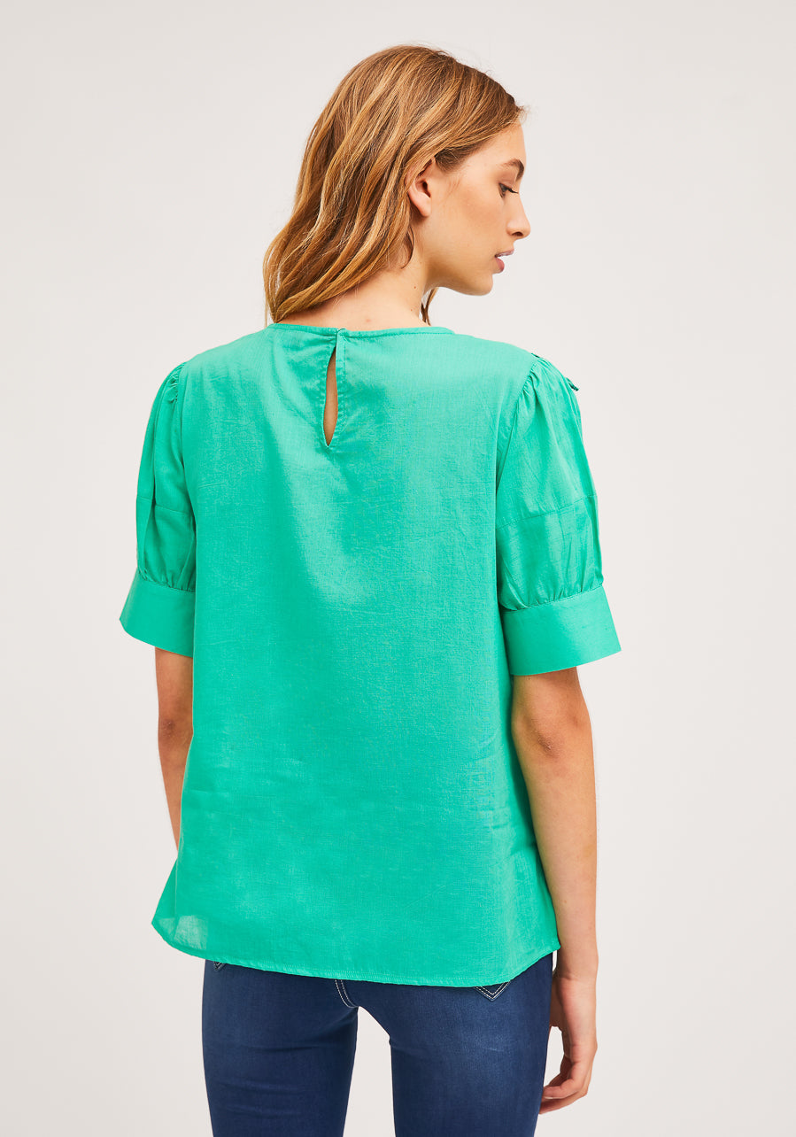 back view of model wearing green ruffle-front blouse with eyelet detail and blue jeans