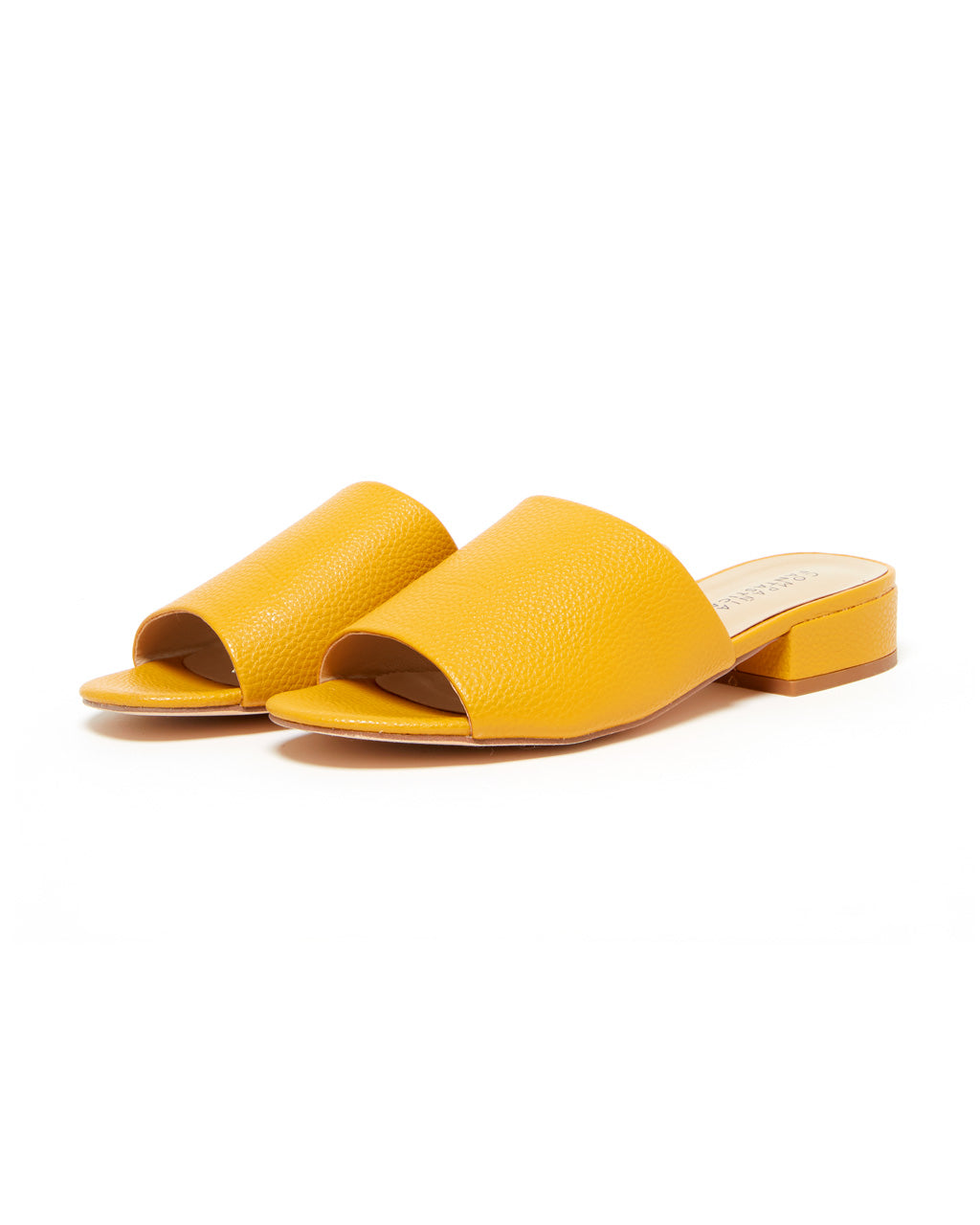 faux leather mustard yellow mules with a low heel