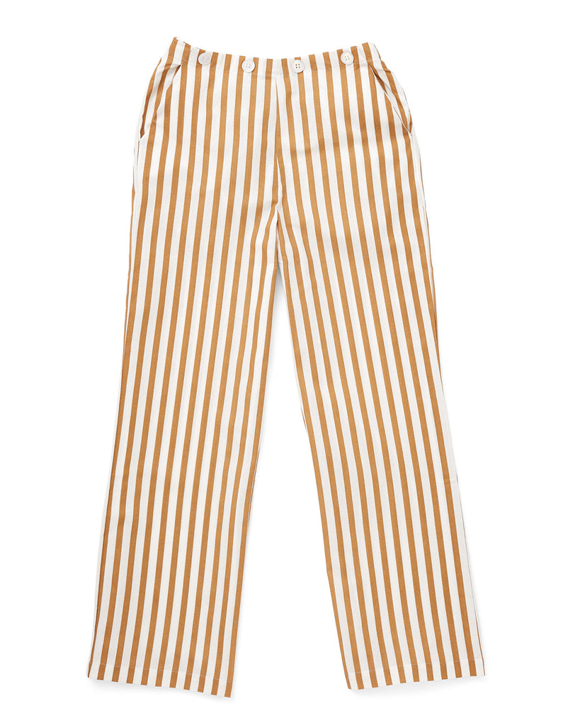 white and orange vertical strip pant with a button design at waist line