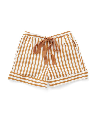 white and orange vertical stripe shorts with a orange ribbon tie at waist