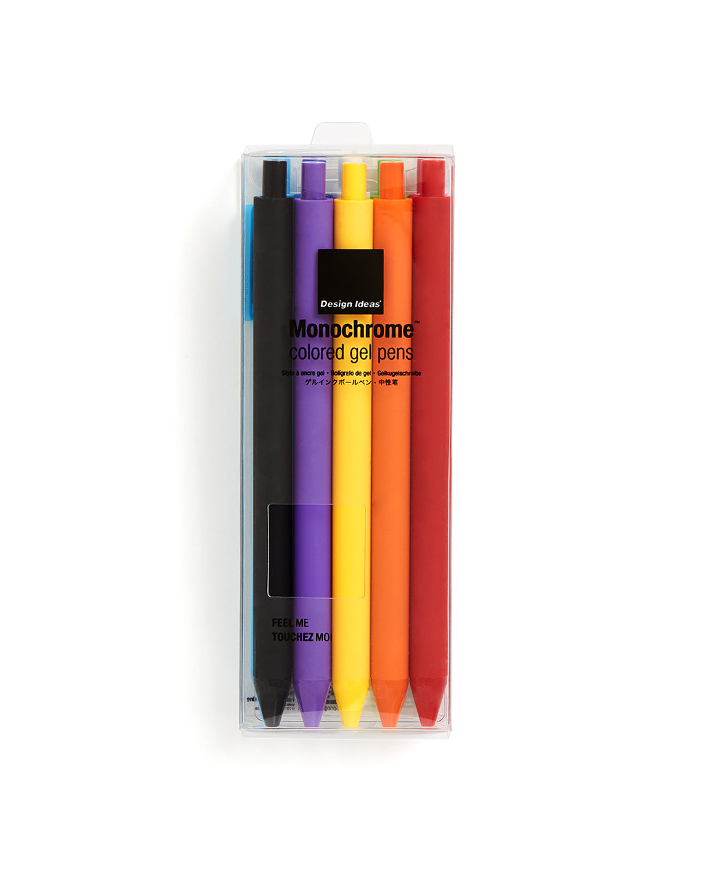 colored gel pens in clear plastic packaging