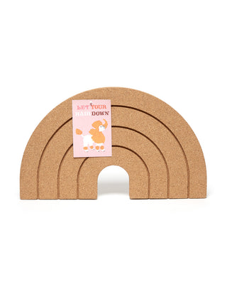 Rainbow shaped corkboard.