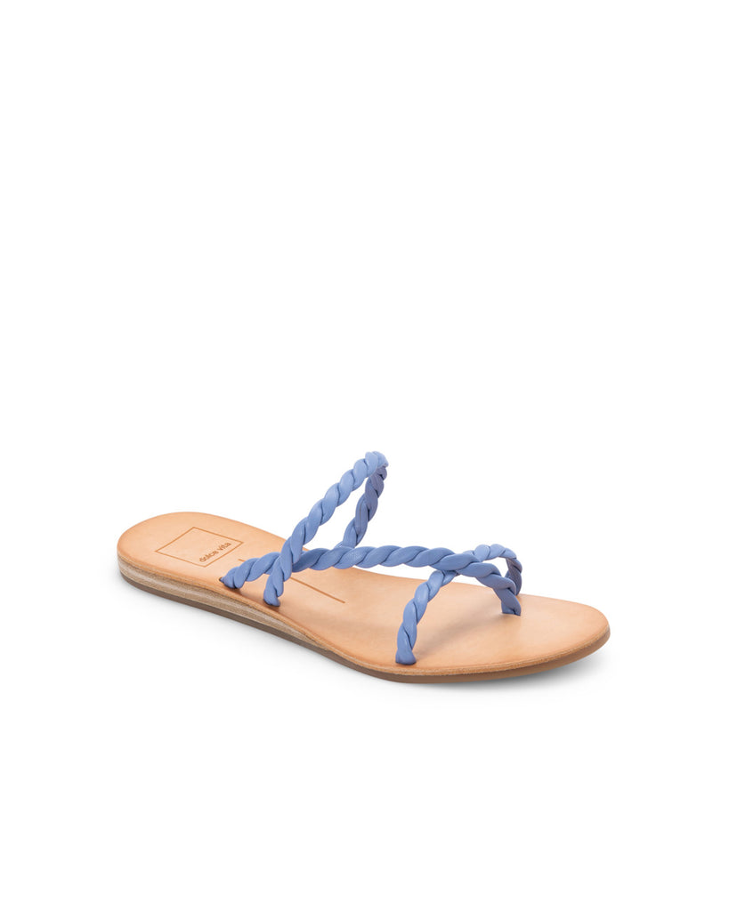 flat sandal with brown leather sole and blue braided straps