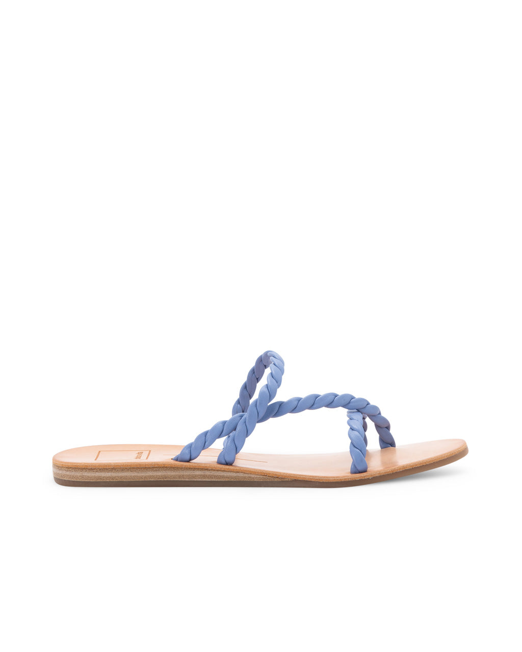 side view of flat sandal with brown leather sole and blue braided straps