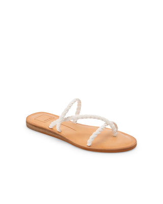 flat sandal with brown leather sole and white braided straps