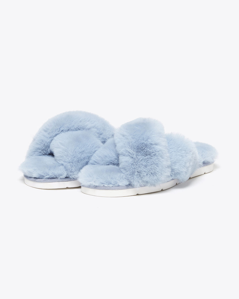 sky blue faux fur slippers