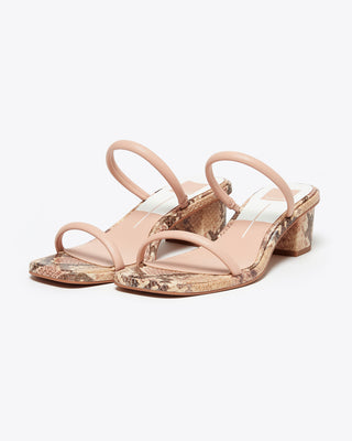 slide-on sandal with 2-inch heel. blush, brown, tan snake skin footbed with two blush skinny straps to fit over toes and top of foot.