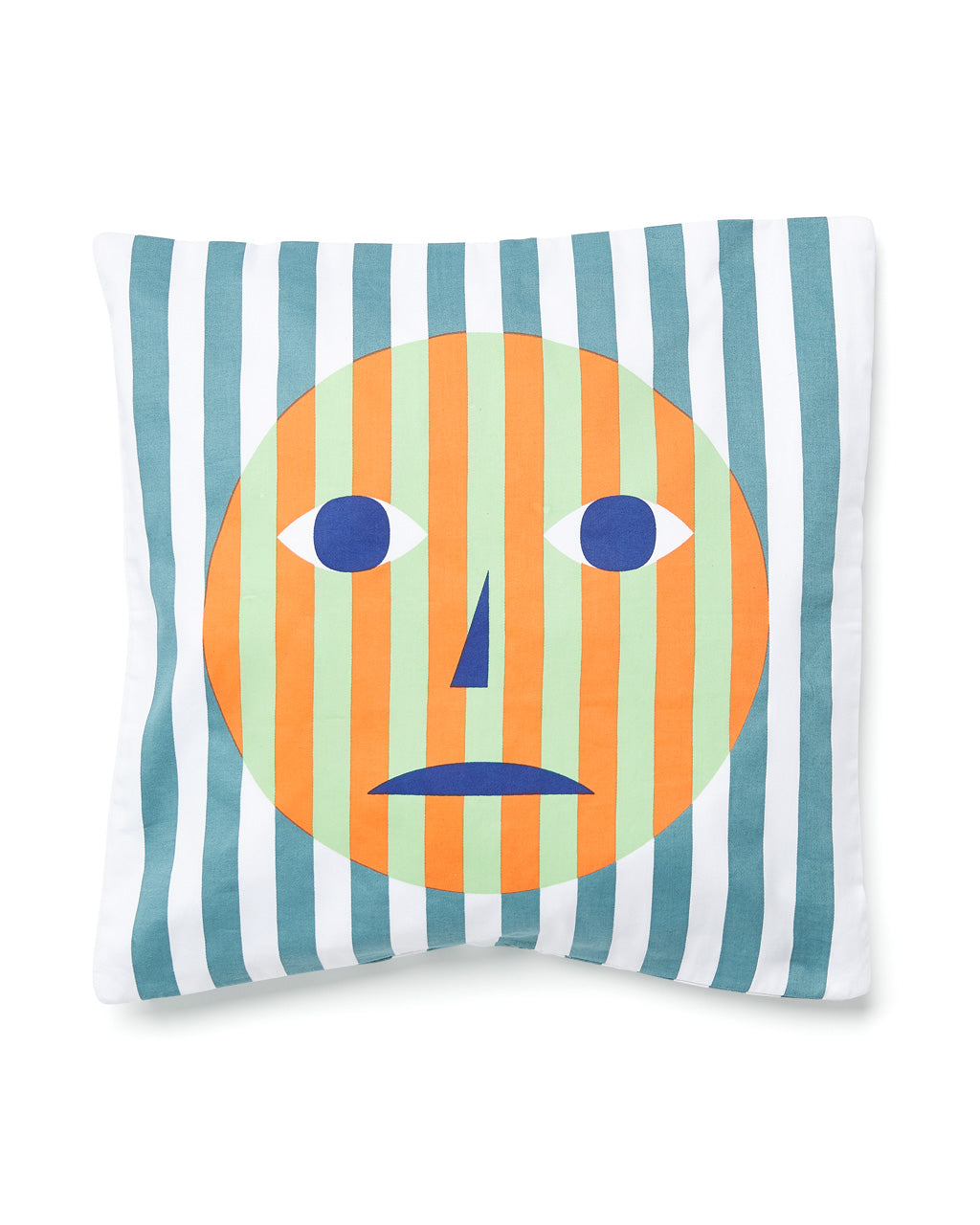 Sad face screen printed pillow with vertical blue stripes.