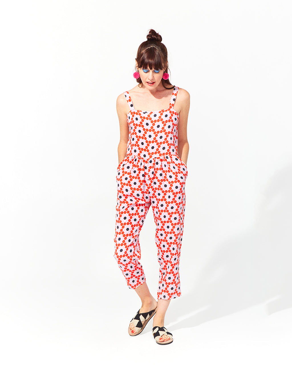 level tank jumpsuit - floral tile