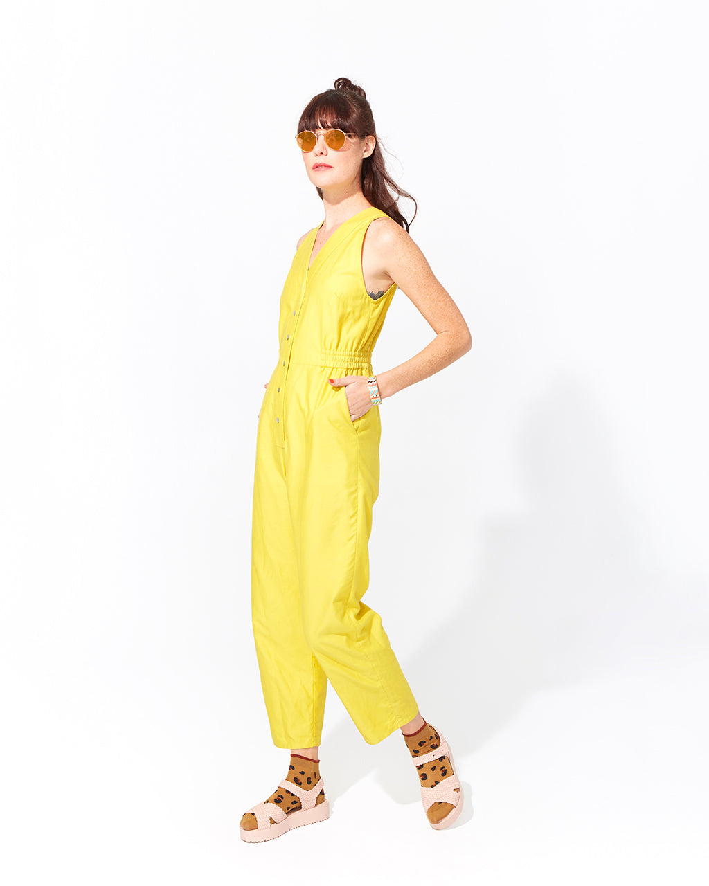 v jumpsuit - solid yellow