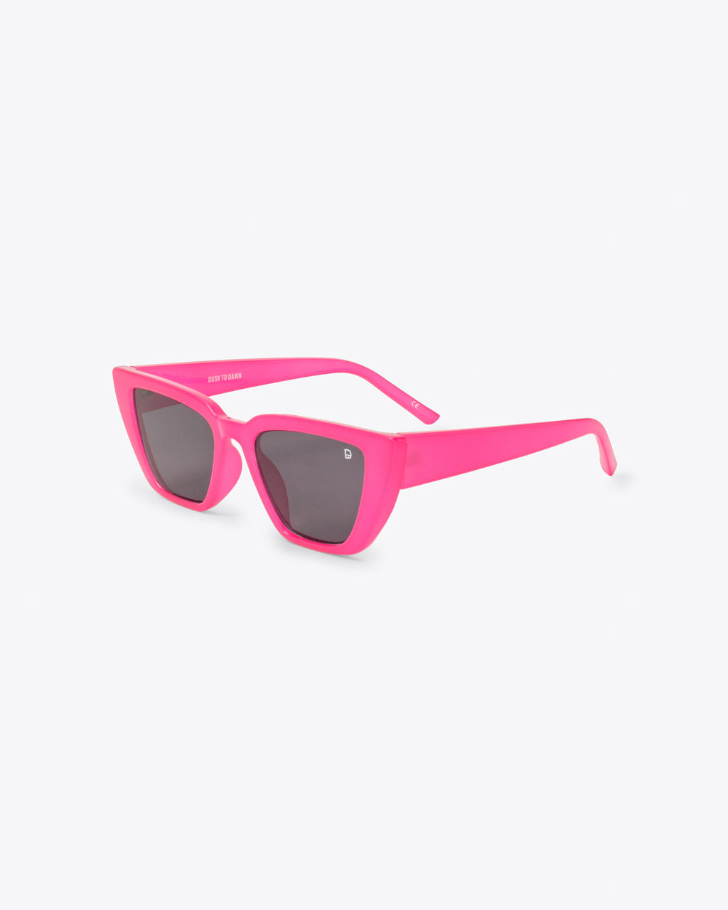 pink neon cat eye sunglasses with a black lens
