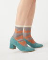 Teal green corduroy heels with a 2.2 inch block heel.