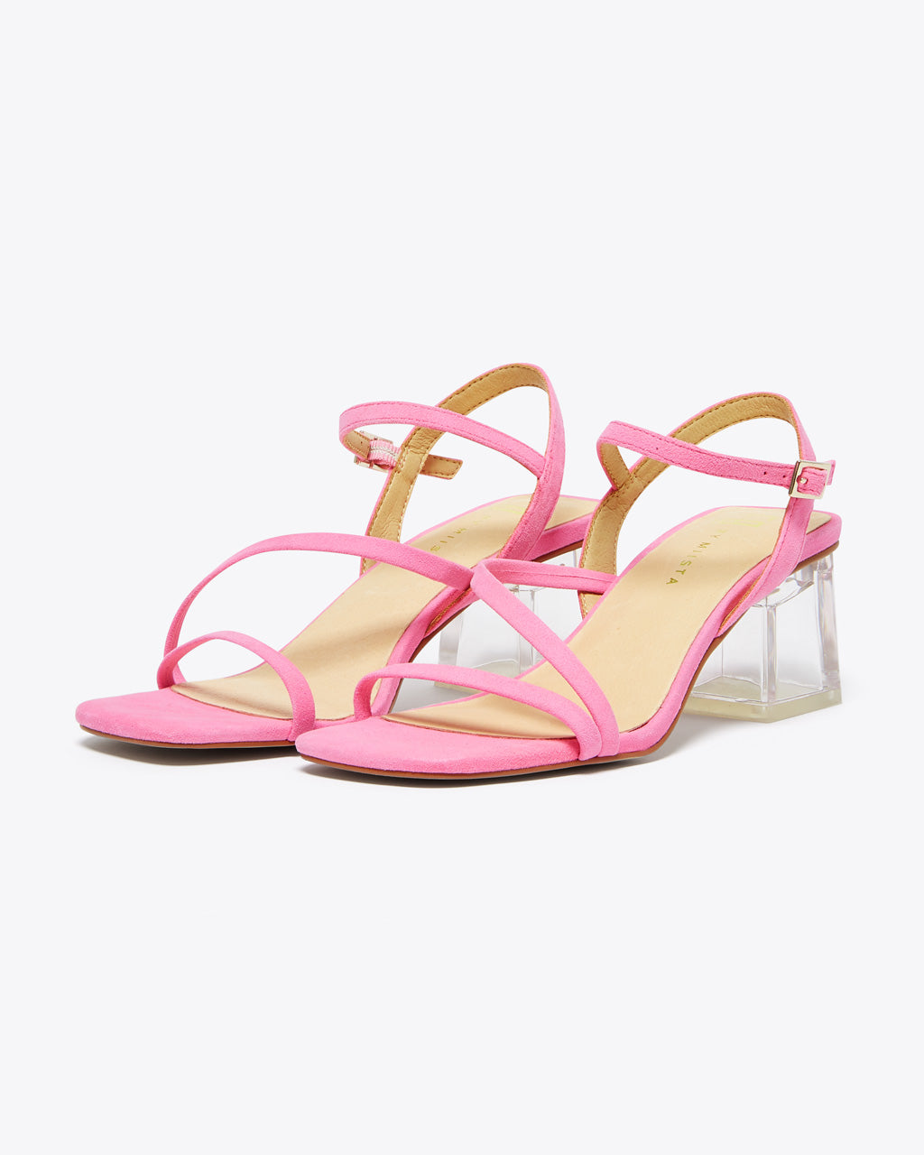 pink strap heels with a clear block heel