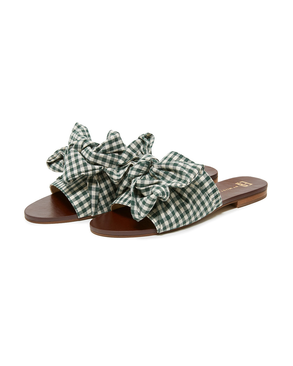 flat backless sandals with fabric dark green gingham uppers