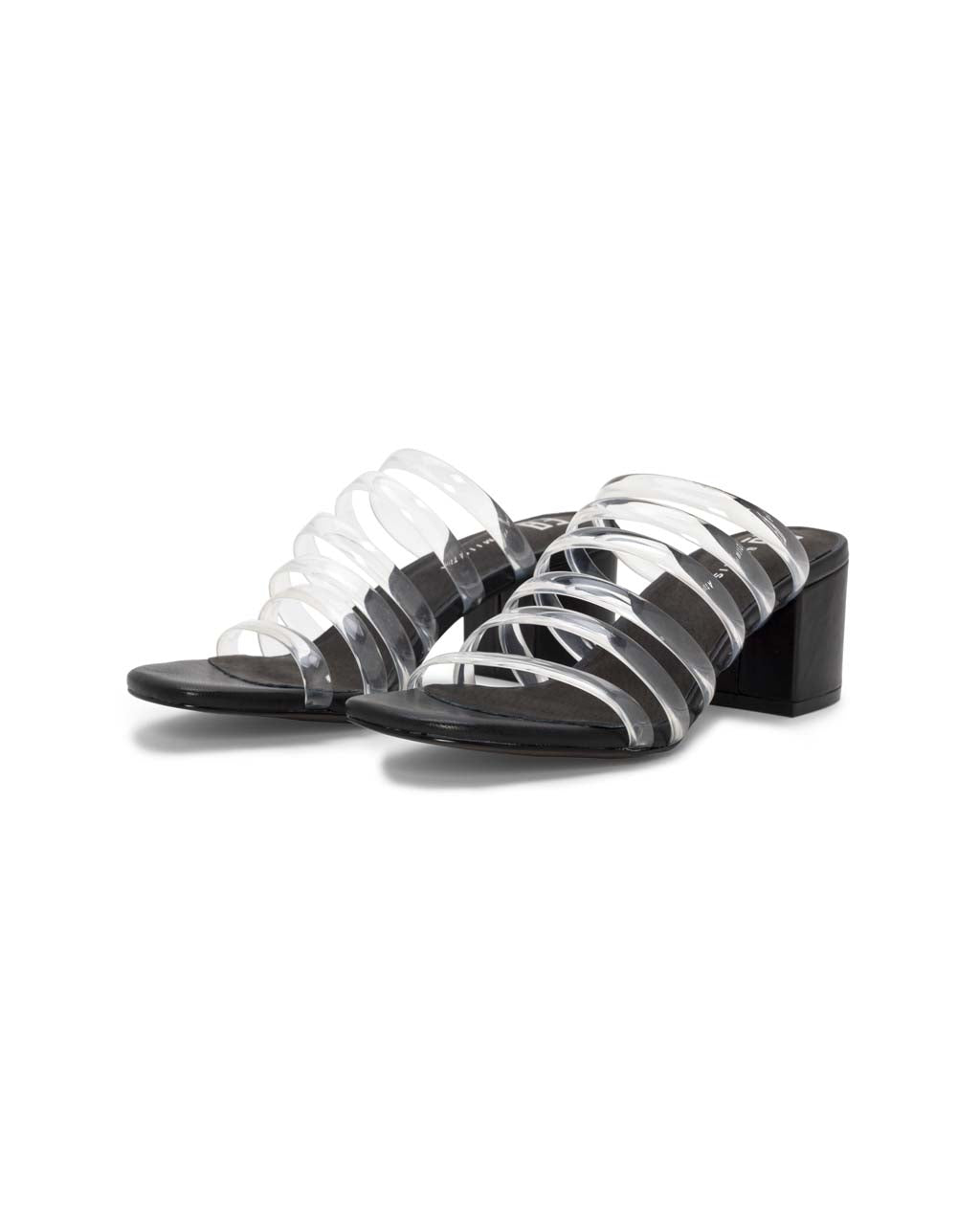 pair of sandals with clear skinny straps and black heel