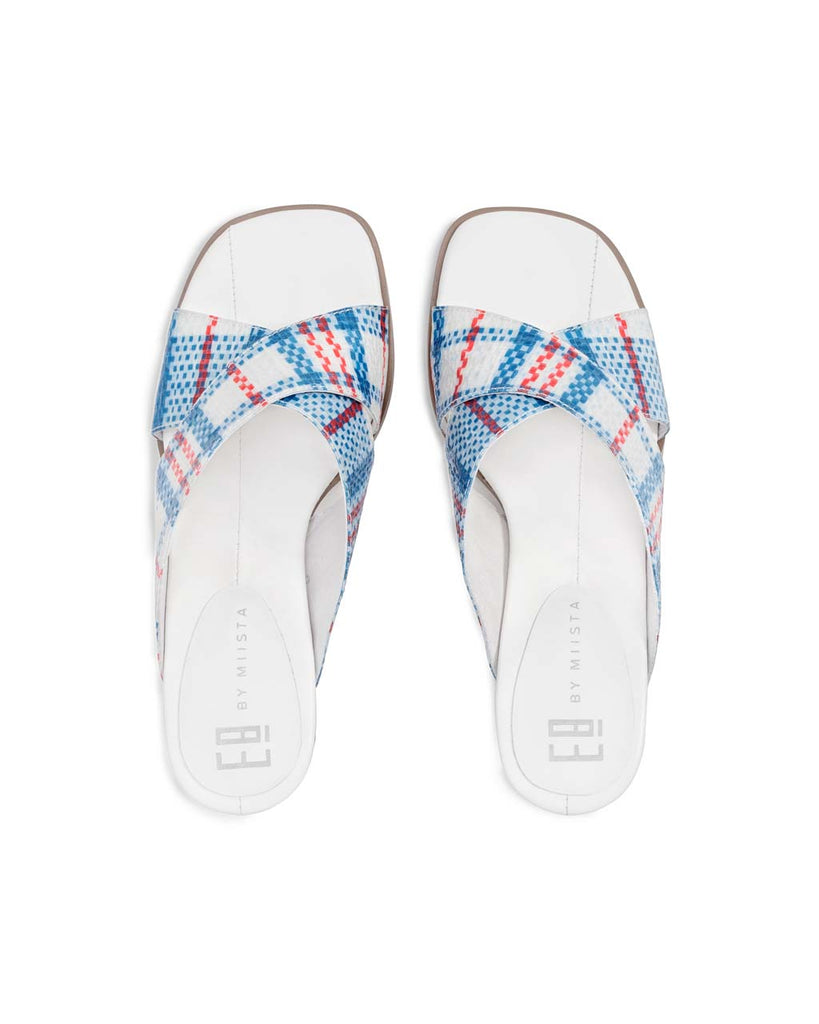 top view of plaid patterned uppers on paloma heel sandals