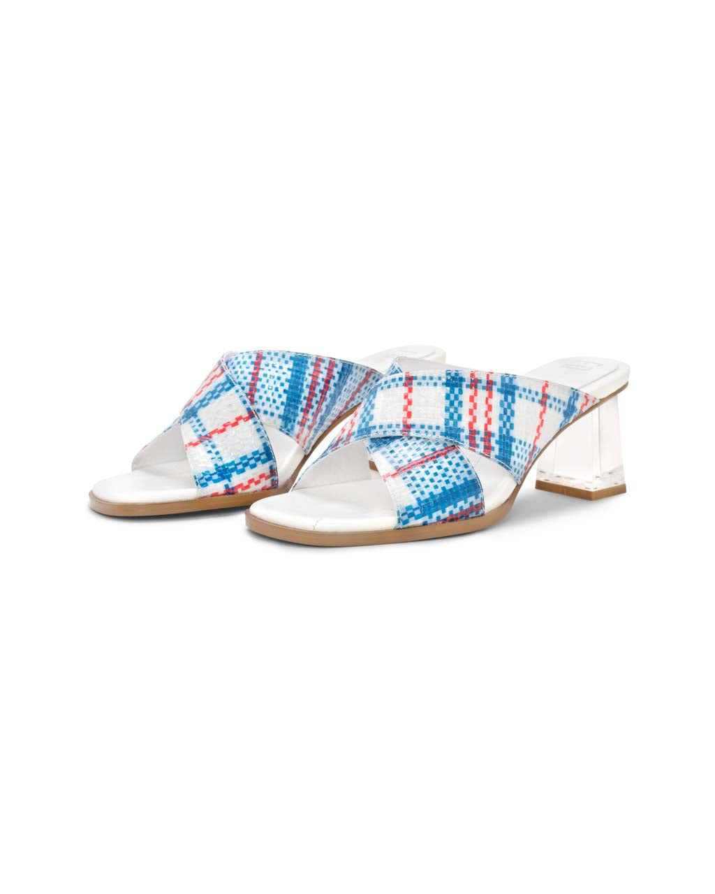 sandals with plaid patterned uppers and clear lucite heel