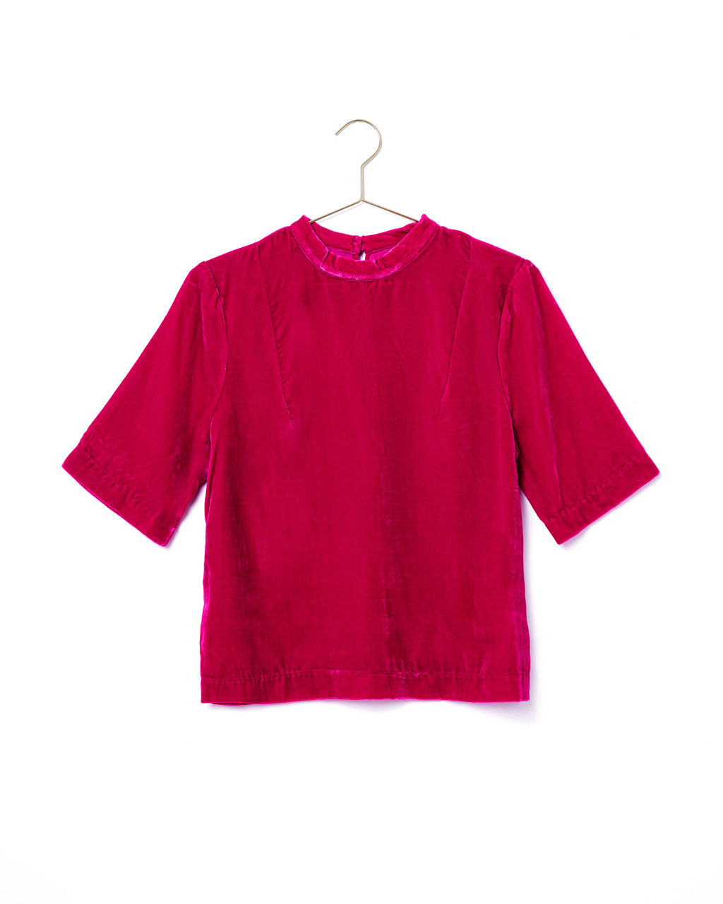 suede dark pink short sleeve top