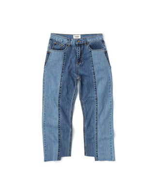 two block straight denim