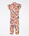 cream jumpsuit with all-over multicolored banana print