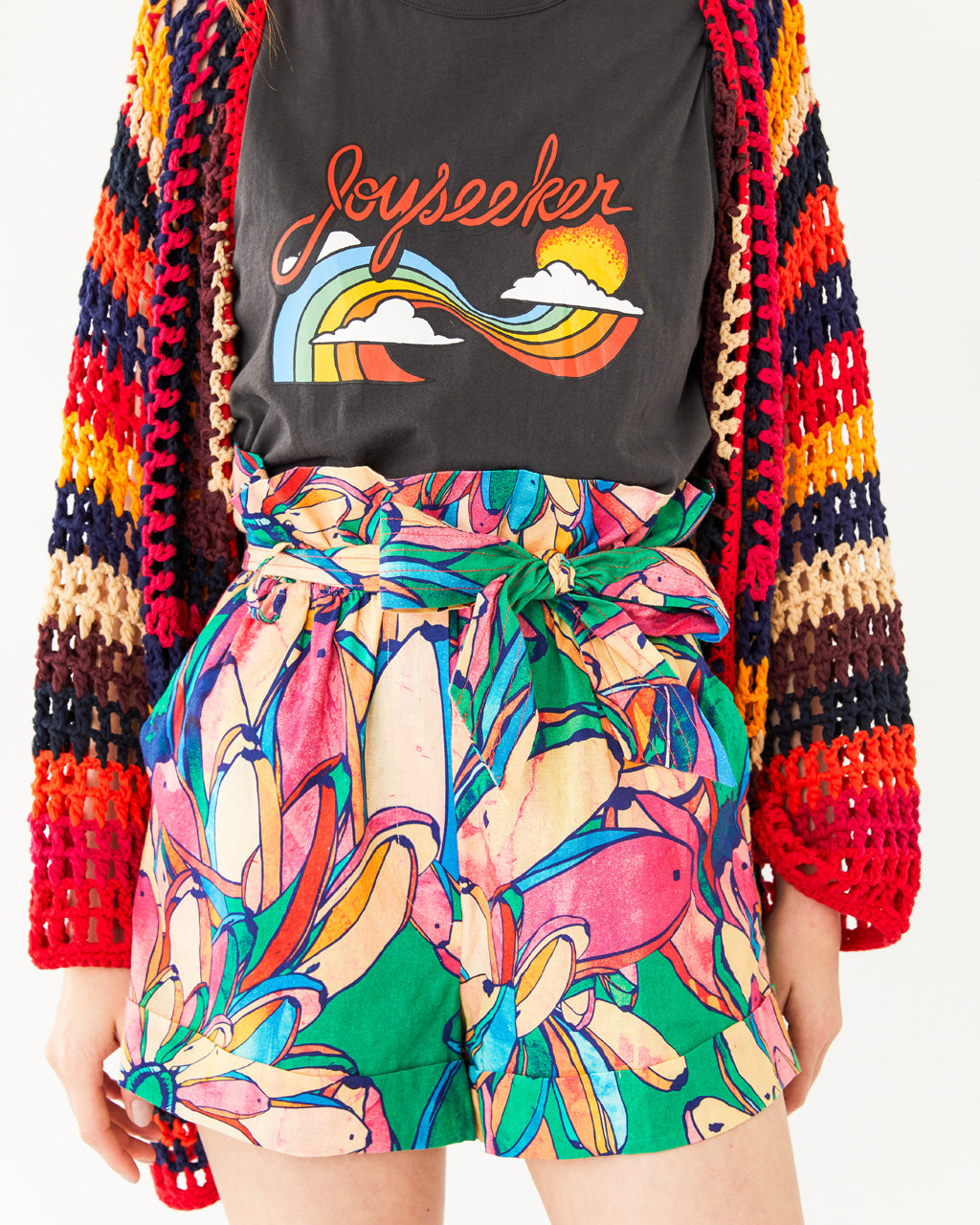 bright rainbow banana pattern shorts with a high waisted fit featuring a tie belt