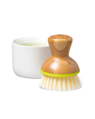 wooden dish brush with ivory bristles shown with white resting dish