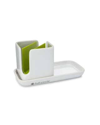 ceramic sink caddy set with green sponge holder