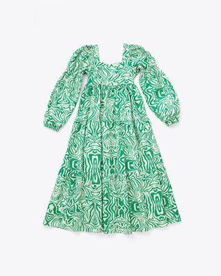 green and cream midi dress with an airwave design and long sleeves
