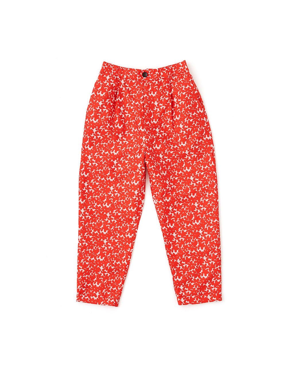 Red and white floral printed pants with cropped length and button closure laying flat on white background