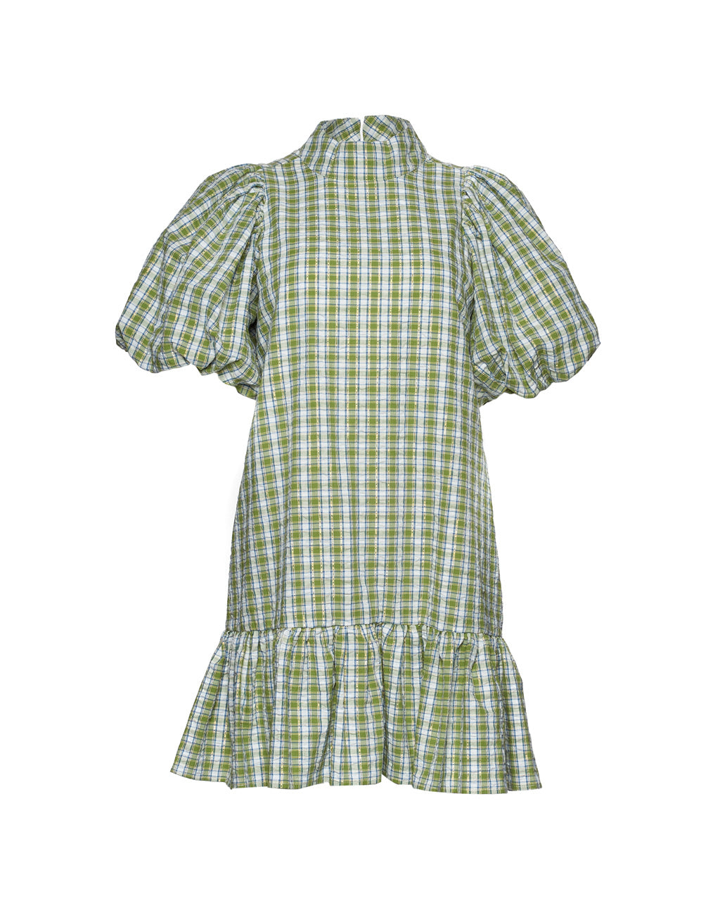 mini dress with puff sleeves and mock neck collar and tiered skirt in green check print