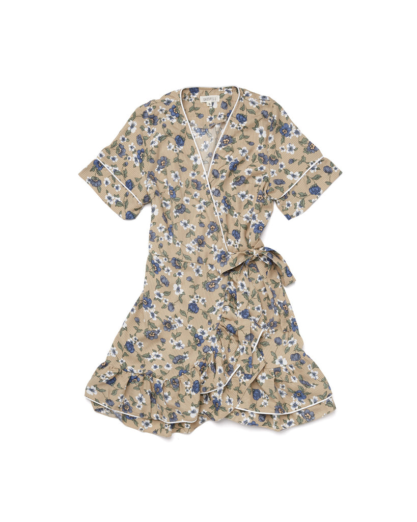 mini wrap dress with a floral pattern all over