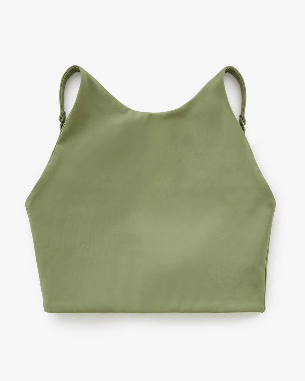 olive colored high neck sports bra
