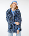 Faux fur blue leopard print coat.