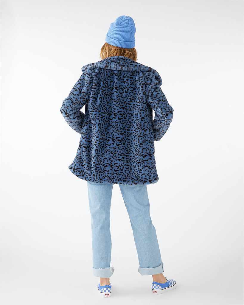 Blue Animal Print Faux Fur Coat