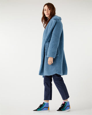Blue teddy coat.