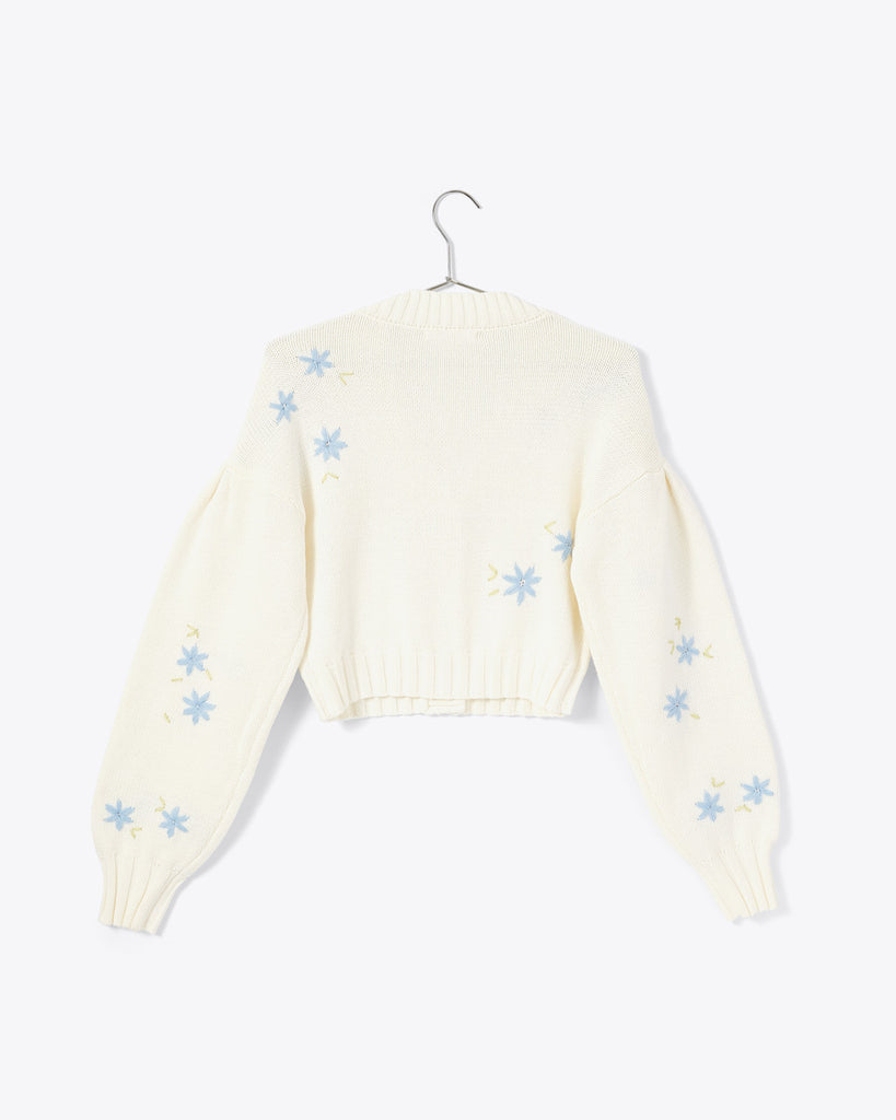 cream colored cropped cable knit cardigan with blue floral embroidery embellishments and brown buttons shown on hanger (BACK)