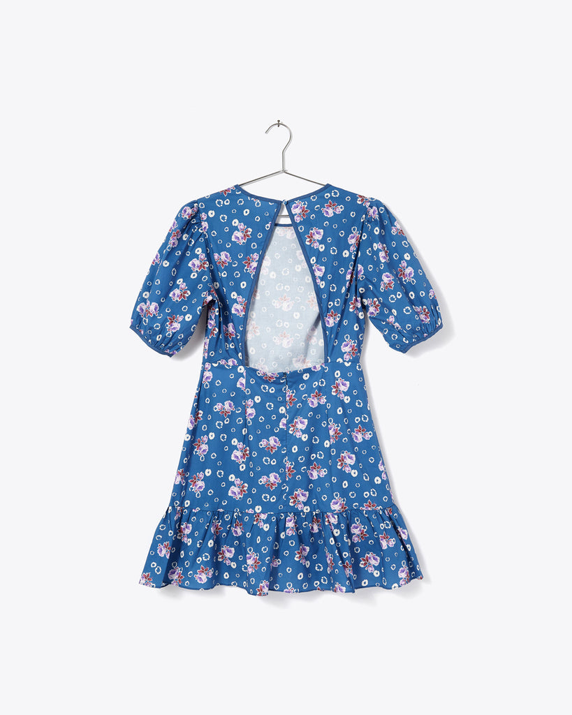 keyhole back blue dress with purple floral print and ruffle edge