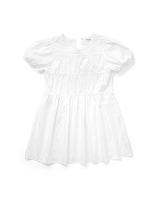 front image of white babydoll dress with puffed short sleeves