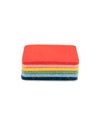 6 pack of rainbow colored square coasters.