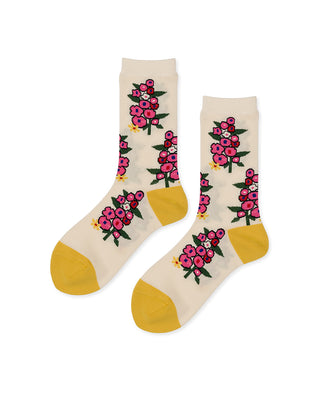 ivory socks with floral pattern, yellow toe and yellow heel.