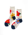 ivory crew socks with red, purple, yellow large flower pattern