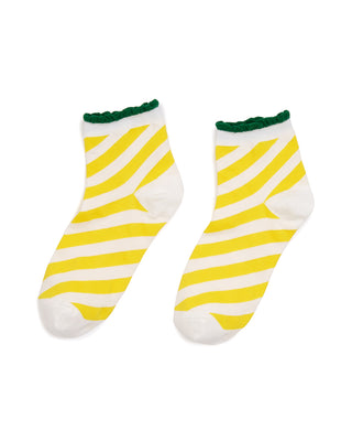 candy stripe ankle socks- yellow